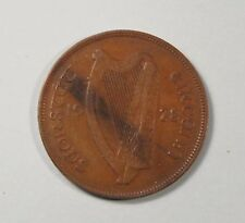 1928 Penny Ireland Bronze World Coin Irish Harp Hen with Chicks KM3 Eire pence