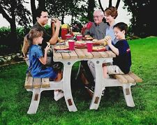 Folding Picnic Table And bench outdoor patio garden furniture flip top wood yard