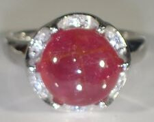 HUGE! 10mm CABOCHON RUBY, WHITE CZ RING SZ 6.75, 925 SILVER 14K GOLD PLATE /337