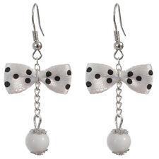 Boucles D'oreilles femme rétro pin up noeud papillon blanc à pois noir VERSION 1