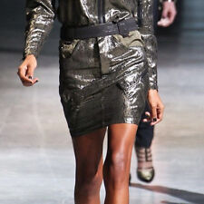 ANTHONY VACCARELLO $1,285 shiny angled cargo pocket fitted mini skirt 36-F/4 NEW
