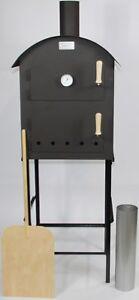 RAMSTER Holzbackofen Flammkuchenofen + Untergestell Thermometer Schamottesteine