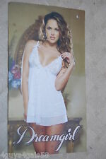 Womens Lingerie SHEER WHITE BABYDOLL GOWN Lace Top PANTIES Dreamgirl XL 16-18