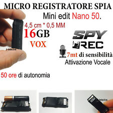 MICRO REGISTRATORE AUDIO VOCALE 16 GB SPY SPIA MINI AMBIENTALE USB