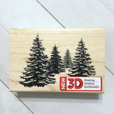 Pine Tree Stamp 3D Rubber Wood Mounted Spellbinders Christmas Holiday Winter