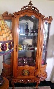 Antique French Baroque Rococo Vitrine Curio Cabinet Painted Decoration Mirror