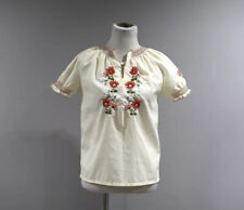 Vintage Embroidered Blouse Top Womens Medium China Embroidery Short Sleeve B