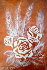 2 Orig, Floral Rose, Matching White on Bronze, Acrylic Artist Signed Paintings,