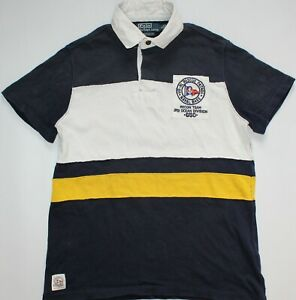 Ralph Lauren Rugby Sailing Naval Polo Shirt - Small Size S - White & Blue - Mens