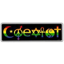 "COEXIST BUMPER STICKER 10""x3"" Vinyl Rainbow LGBT Gay Pride Religious Tolerance"
