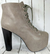Jeffrey Campbell LITA Grey Leather Heels Booties Women US 8.5
