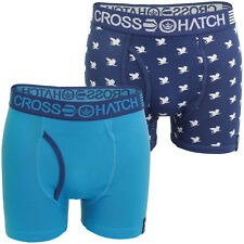 NEW MENS CROSSHATCH 2 PACK BOXER SHORTS BOXERS TRUNKS SIZE EXTRA LARGE XL BLUE