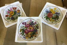 3 Vintage West German Hutschenreuther 1814 Collectable Wall Plates 1986 Flowers