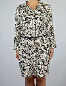 New Monki Shirt Dress Ivory Polka Dot Oversized Work Summer Spring Size XS 12 AM