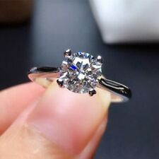 1.20 Ct Round Cut DVVS1 Moissanite Engagement Ring In 14k White Gold Plated