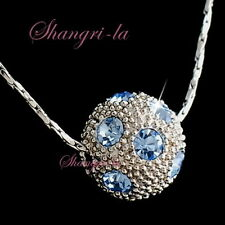 18k WHITE GOLD PLATED NECKLACE WITH SWAROVSKI CRYSTAL lUCK BALL LIGHT BLUE L168