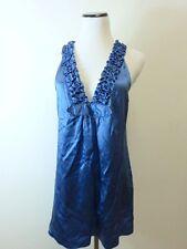 NEW STUDIO M BCBG MAX AZRIA 100% SILK BLUE ALISON TUNIC TOP MINI DRESS BLOUSE L