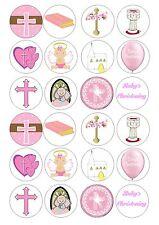 24 Christening Baptism Girl Iced Topper For Cupcake Fairy Cake