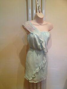 LIPSY Stunning Sexy One Shoulder Mint Green Silk Frill Dress Size 10 NEW
