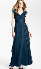 Adrianna Papell Petal Chiffon Gown Dress 8 (Navy)
