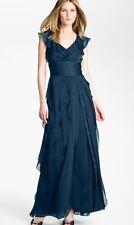 Adrianna Papell Petal Chiffon Gown Dress 8 (Navy)