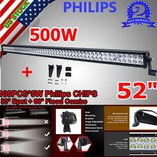 "500W PHILIPS 52INCH Led Work Light Bar Spot Flood Combo Offoard 4WD Lamp 52"" 54"""