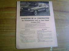 REVUE TECHNIQUE évolution VOLKSWAGEN GOLF et JETTA DIESEL modèles 1983
