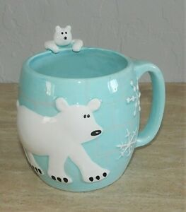 222 Fifth Arctic Winter Polar Bear w/CUB Coffee Cup VERY CUTE Discontinued EUC
