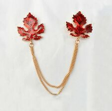 Women Men Red Maple Leaf Blouse Shirt Collar Neck Tip Brooch Pin Chain Punk AG