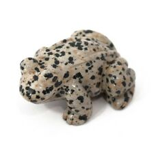 Frog Dalmatian Jasper Hand Carved Gemstone Animal Totem Statue Stone Sculpture