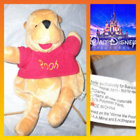DISNEY WINNIE THE POOH BEAR PLUSH SOFT TOY BAG VINTAGE BACK PACK (O)