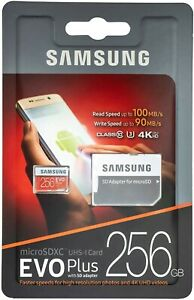 Samsung EVO Plus 256 GB MicroSD Micro SDXC C10 Flash Memory Card With SD ADAPTER