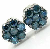 Ladies 1 ct Irradiated Blue Diamond Cluster Earrings 14k White Gold Over