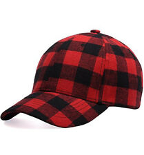 Black and Red Checked Print Baseball Cap Soft Plaid Print Outdoor Hat Cap
