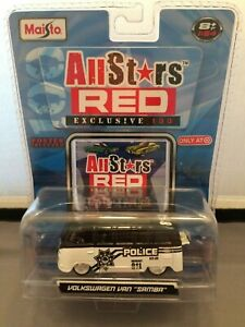 "Maisto All Stars Red Exclusive 100 Volkswagen Van ""Samba"" Police New In Package"