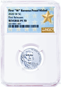 """2020 """"W"""" Reverse Proof Nickel First Releases NGC PF70 Star Label with COA"""