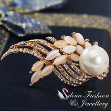 18K Rose Gold Plated Made With Swarovski Created Pearl & Opal Feather Brooch
