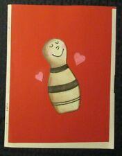 "VALENTINES Happy Bowling Pin w/ Hearts 8x10.5"" Greeting Card Art #3452"