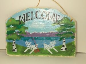Cape Cod Stencil Co, Painted Slate Lake and Mountain Cap with Snow Scene