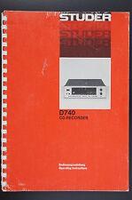 STUDER REVOX D740 CD-Recorder Orig. Bedienungsanleitung/Operating Instructions!