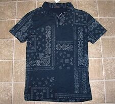 Men's $125 (M) POLO-RALPH LAUREN Indigo Knit BANDANA Polo Shirt