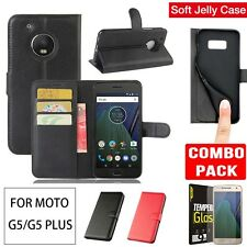 Moto G5S Plus G5/G5 Plus Case Cover Wallet Flip Leather + Glass Screen Protector