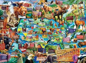 """Jigsaw puzzle Animals and Map of America's National Parks 100 Piece NEW 19""""x14"""""""