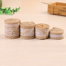 5m Trims Tape Rustic Wedding Party Natural Lace Jute Burlap Hessian Ribbon Edged