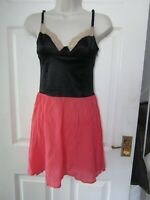 BNWT Motel Rocks Topshop Dress S Small 8 Coral Black Bustier Style Lace Party