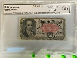 1874 50 Cent Fractional Note FR-1381 US Currency Fifth Issue Uncirculated