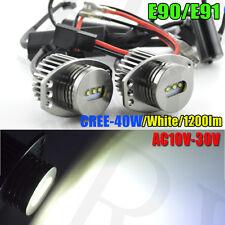 CREE 40W XENON WHITE LED ANGEL EYE MARKERS BMW 3 SERIES E90 E91 HALOGEN LIGHTS