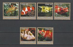Mozambique 2002 Sc#1654a-f  Various Fish  MNH Set $9.50
