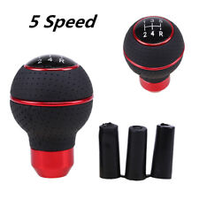 Car Leather gear Manual Stick Shifter Lever Gear Shift Knob Head Cover 5 Speed