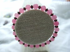 "Pink Dyed Quartz and Metal Spacer Bead Threaded Elastic 6.75"" Bracelet."